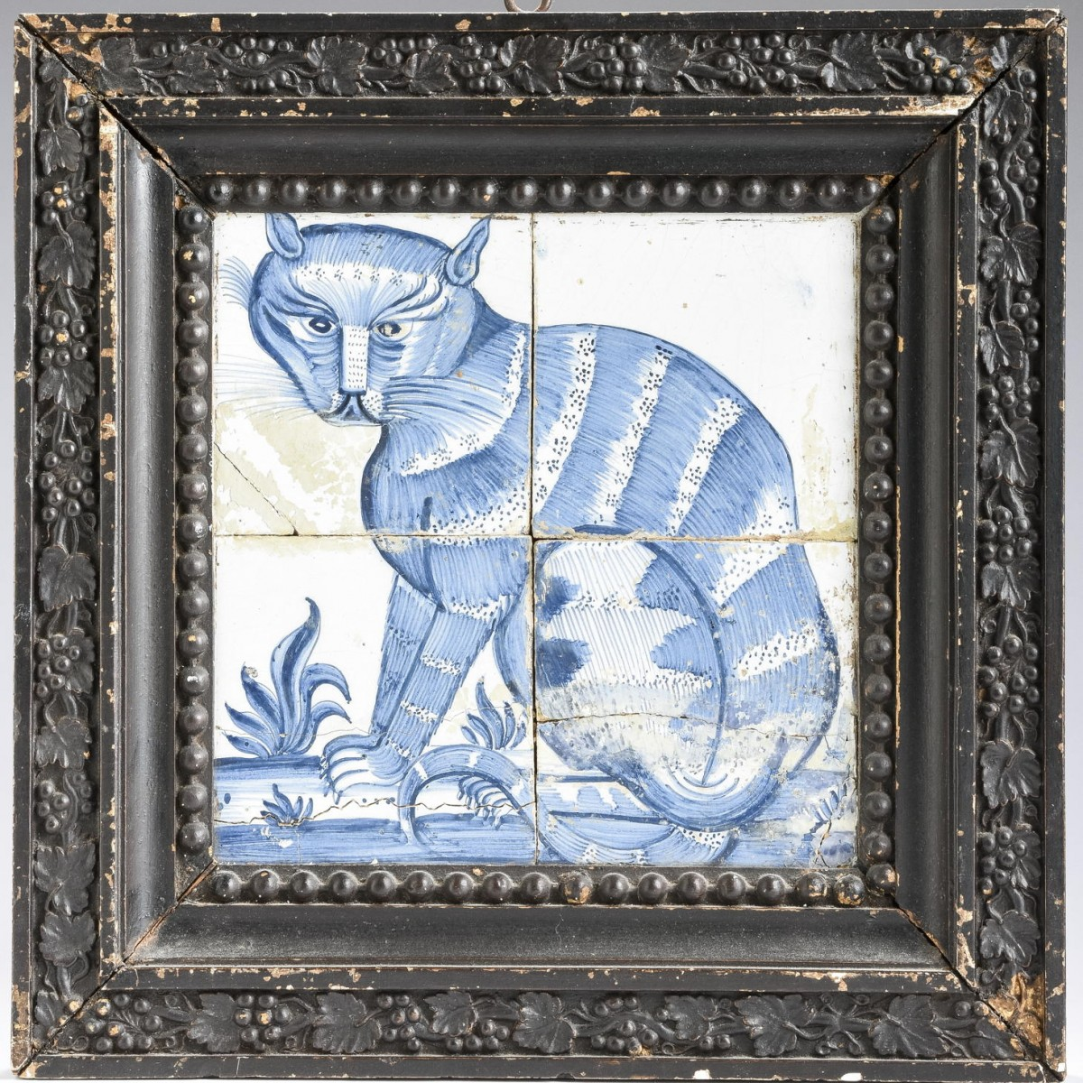 Pair Of Framed Dutch Delft Tile Pictures Of Seated Cats