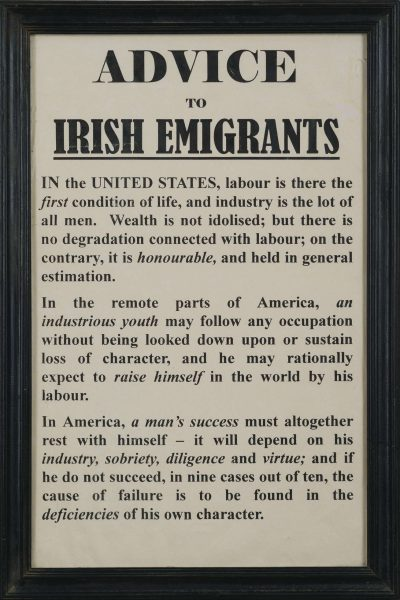 Broadside advice to irish emigrants northeast auctions for Auction advice