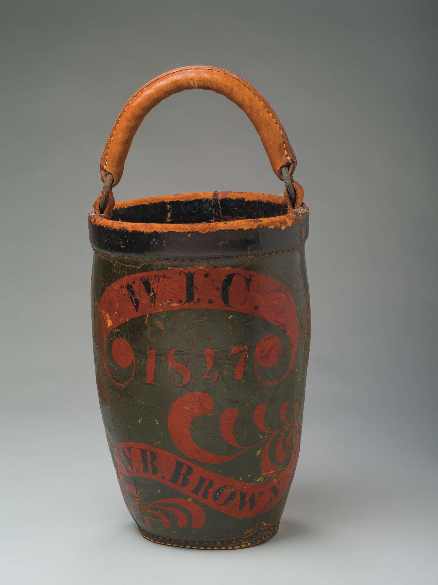 Massachusetts Leather Fire Bucket With Swing Handle
