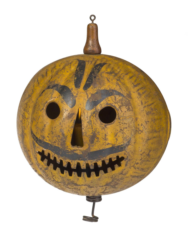 painted tin halloween parade jack-o-lantern, probably toledo, ohio