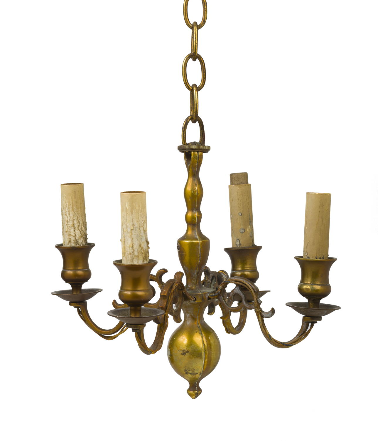 Continental Brass Four Light Chandelier With Baer Stem Large Ball Drop At Bottom Scrollwork Arms Fitted Candle Cups And Bobeche