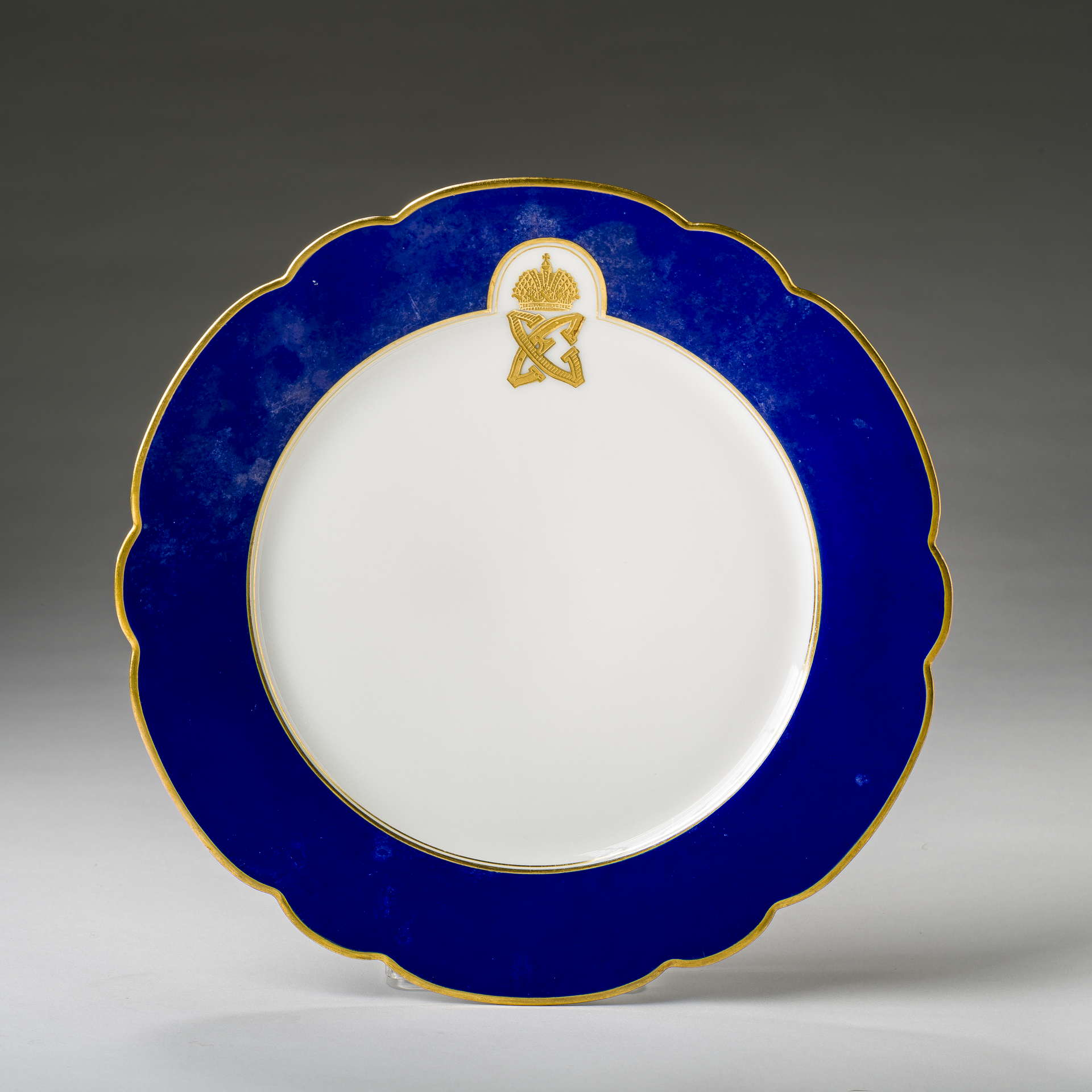 9b7a37dc RUSSIAN PORCELAIN DESSERT PLATE FROM THE BLUE SERVICE FOR GRAND DUKE SERGEI  ALEXANDROVICH AND GRAND DUCHESS ELIZABETH FEODOROVNA, LATE NINETEENTH ...